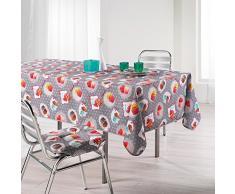 LHarmonie du décor Café Gourmand Nappe Imprimé Polyester Gris 150 x 240 x 240 cm