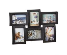 Relaxdays Cadre photos pêle-mêle 6 photos Galerie mur cadre mural 3D à suspendre 33 x 47,5 cm, noir