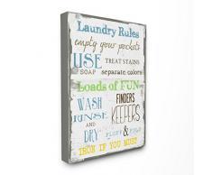 Stupell Industries le Stupell Home Decor Collection à linge Rules Typographie de salle de bain surdimensionné tendue sur toile Décoration murale, 24x 1,5x 30, fabriqué aux États-Unis dAmérique, tissu,