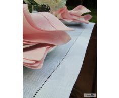 Chemin de table LinenMe en lin, 1 unité, 40 x 200 cm, collection Emilia, Blanc
