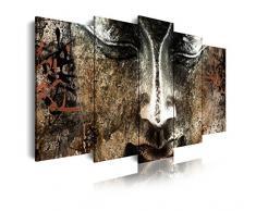 Dekoarte 408 - Tableau moderne sur toile monté sur cadre en bois 5 pièces, style zen - feng shui bouddha effet bois, 150x80cm