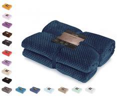 DecoKing Couette en Microfibre Couverture Polaire Plaid Couvre-lit Polaire Doux de Style scandinave Henry, Microfibre Bleu Foncé 170x210 cm