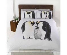 Pingouins Photo Animal Parure de lit avec Housse de Couette et 2Â taie doreiller Parure de lit, Coton/Polyester, Double, Blanc