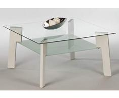 Stella Trading Johnny 16771 Table Basse en Verre Blanc Brillant
