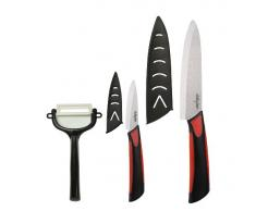 Dailycious DC-0047 - Lot de 3 Pièces Céramique 1 Couteau de Chef 15 cm + 1 Couteau dOffice 7,5 cm + 1 Eplucheur