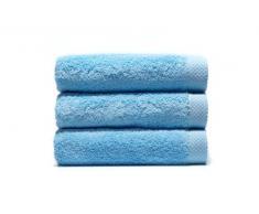 Home Basic - Lot 3 Serviettes Eponge, 33x50 cm Serviette invité, 50x100 e Maxi Drap de Bain 100x150 cm, Couleur Bleu Ciel