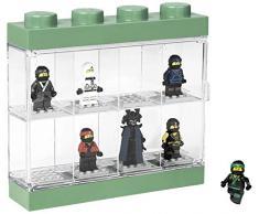 Vitrine de présentation des mini-personnages LEGO NINJAGO Movie pour 8 mini-personnages, conteneur empilable contre un mur ou sur un bureau, Vert Sable