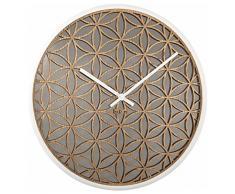 NeXtime 3194WI Bella Mirror Horloge Bois Blanc 50 x 50 x 6,5 cm