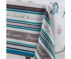 Le Jardin des Cigales SEASIDE Nappe rectangulaire Polyester Turquoise 200 x 150 cm