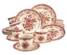 Creatable, 19427, Victorian Pink, Service de Table 30 piéces, Porcelaine, Multicolore, 40 x 32,5 x 32,5 cm