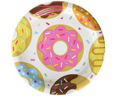 Creative Converting 322296 Donut Assiettes de déjeuner/dîner en papier Multicolore 23 cm