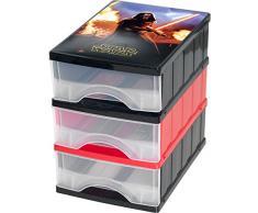 Okt Disney Star Wars Lot de 3 blocs de classement à tiroirs, format A5, plastique, Bleu, 25 x 18 x 25 cm