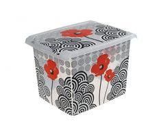 OKT 2053521 Fashion Boîte de Rangement PoppyStyle Plastique Multicolore/Transparent 20,5 L