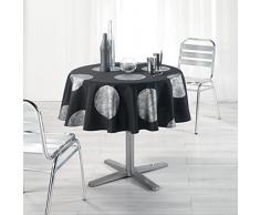 LHarmonie du décor Nappe Imprimé Argent/Platine Polyester Noir 180 x 180 cm