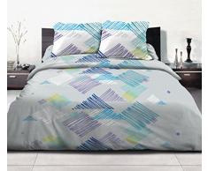 Home Passion 60510 Parures de couette 3 Pièces 57 Fils Graffe Azur Coton Multicolore 220 x 240 cm