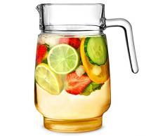 Ville Carafe en verre 58oz/1.65ltr – Pichet en verre, Pichet à cocktail en verre – Idéal pour les jus, leau ou à cocktail.