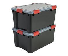 Iris Ohyama, Lot de 2 Boîtes de Rangement / Malles de Rangement Hermétiques - Air Tight Box - AT-L, Plastique, Noir, 50 L, 59 x 39 x 29 cm