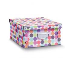 Zeller 2057214 Boîte de Rangement Dots 40x33x17cm, Autre, Multicolore, 40 x 33 x 17 cm