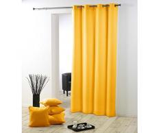 douceur dintérieur rideau a oeillets plastique 140x260 cm polyester essentiel jaune