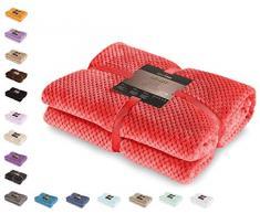 DecoKing Plaid couverture couette microfibre microfibre Couverture polaire Plaid Couvre-lit polaire doux doux de style scandinave Henry, Microfibre, Rouge, 170 x 210 cm