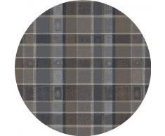 Garnier-Thiebaut MILLE WAX Nappe enduite ronde, coton, Cendre, diam. 175 cm