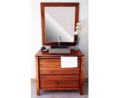 BAIN ET TECK Salle de bain en teck Sirocco Natural Vernis et son miroir teck Solo