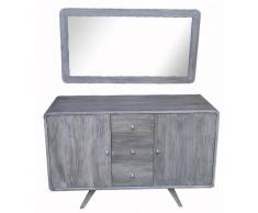 BAIN ET TECK Salle de bain en teck Antica Grey et son miroir en teck Grey