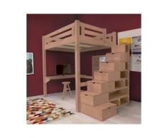 Lit Mezzanine Alpage bois + escalier cube hauteur réglable, 120 x 200 cm