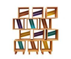 Meuble bibliothèque modulable 12 casiers bois jaune violet turquoise,