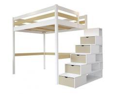 Lit Mezzanine Sylvia avec escalier cube bois, 140 x 200 cm