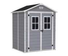 Abri de 3 m² double porte gris avec fenêtres CHALET & JARDIN,