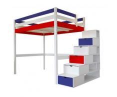 Lit Mezzanine Sylvia avec escalier cube bois, 120 x 200 cm