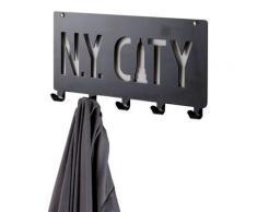Patère à fixer «N.Y. City » noire,