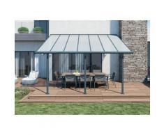 Abri de terrasse structure grise et toit translucide 3x4 m CHALET ET JARDIN,