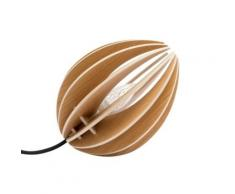 Fève - lampe à poser en chêne avec cordon textile,