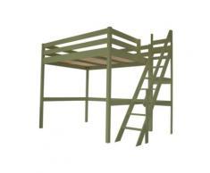 Lit Mezzanine Sylvia avec escalier de meunier bois, 120 x 200 cm