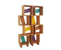 Meuble bibliothèque modulable 8 casiers bois jaune violet turquoise,