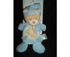 Doudou Marionnette Ours Ourson Mes Petits Cailloux Cmp Bleu Marron Blanc Beige Crme cru Comfort Blanket Comforter Soft Toy Peluche