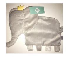 Doudou Elephant Gris Tex Baby Plat Peluche Naissance Bebe Attache Tetine Sucette Jouet Eveil Enfant