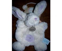 Doudou Lapin Blanc Baby Nat Peluche Les Lapins Calins Blanc Et Violet Parme Lavande Rond Doux Sur Ventre Jouet Bebe