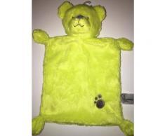 Doudou Ours Jaune Vert Fluo Ourson Nounours Simba Toys Nicotoy Empreinte Jouet Eveil Bebe Naissance