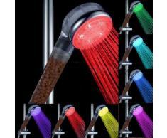 EBUY Pommeau de douche Spa aux 2 céramiques ions négatifs 7 couleurs à LED