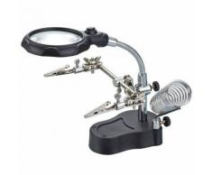 LOUPE SUR SOCLE 65 mm a pincettes et support fer à souder ET ECLAIRAGE LED