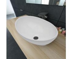 vidaXL Luxueuse Vasque à poser en céramique Ovale Blanche 40 x 33 cm