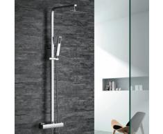 Homelody Robinetterie Salle de bains Colonne de douche thermostatique en laiton durable pommeau et douchette rectangulaire en inox chromé