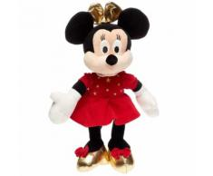 Doudou Peluche Minnie Mouse Disney Baby Robe Velours Rouge Noeud Or Souliers Dore Jouet Bebe Nicotoy