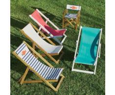 Chaise de casting pliable pour enfant motif marinière Blanc, Bleu, Naturelle
