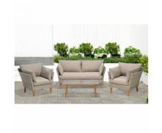 Salon de jardin finition rotin tressé gris clair (4 places)