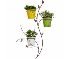 Porte plantes 3 supports en acier galvanisé effet rouille