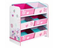 Flower Étagère de rangement à 6 casiers en textile pour enfant Alinea Rose